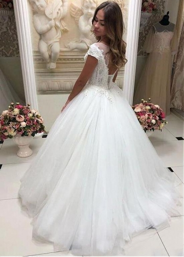 Exquisite Lace & Tulle Jewel Neckline Ball Gown Wedding Dresses With Beaded Lace Appliques