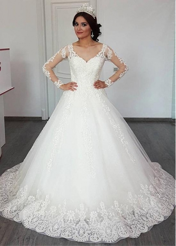 Delicate Tulle V-neck Neckline A-line Wedding Dress With Lace Appliques & Beadings