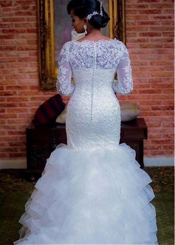 Amazing Tulle & Organza Bateau Neckline Mermaid Wedding Dress With Beaded Lace Appliques