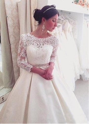 Modest Jewel Neckline A-line Wedding Dress With Lace Appliques & Beadings & Belt