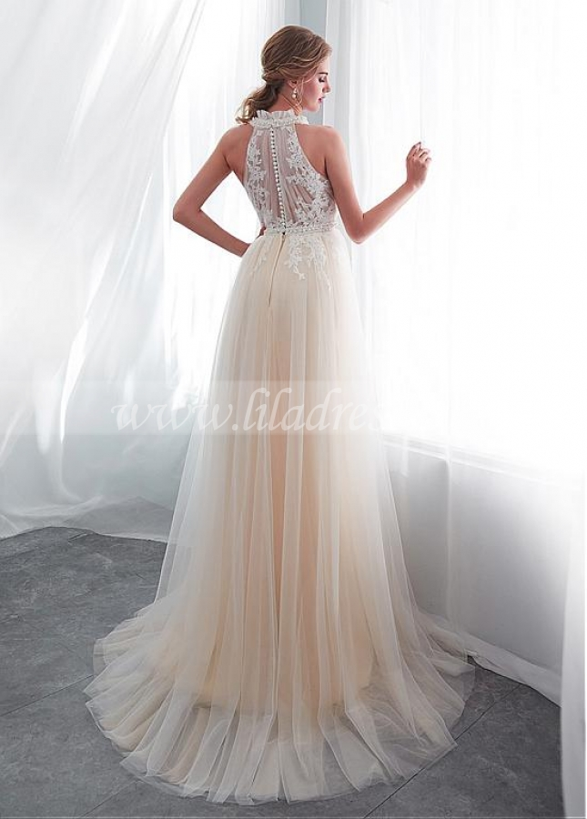 Exquisite Tulle Halter Neckline See-through Bodice A-line Wedding Dress With Lace Appliques & Beadings