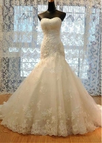 Gorgeous Tulle Sweetheart Neckline Mermaid Wedding Dress With Beadings & Lace Appliques & 3D Flowers
