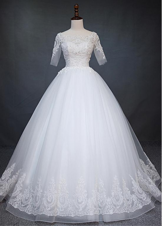 Exquisite Tulle Scoop Neckline Ball Gown Wedding Dress With Beaded Lace Appliques