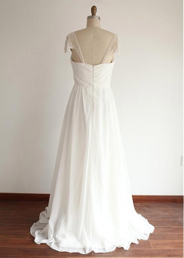 Glamorous Tulle & Chiffon Sweetheart Neckline Full Length A-line Wedding Dresses With Beadings