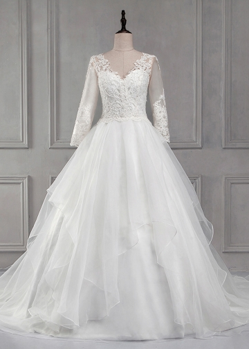 Elegant Tulle & Organza V-neck Neckline A-line Wedding Dress With Beaded Lace Appliques