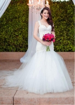 Charming Tulle & Lace Sweetheart Neckline Mermaid Wedding Dresses With Lace Appliques