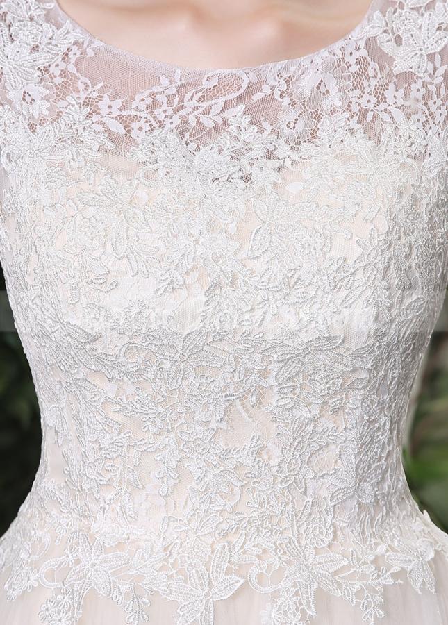 Elegant Lace & Tulle Scoop Neckline A-line Wedding Dresses