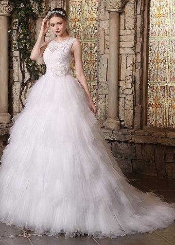 Amazing Lace & Tulle Bateau Neckline Ruffled A-line Wedding Dresses