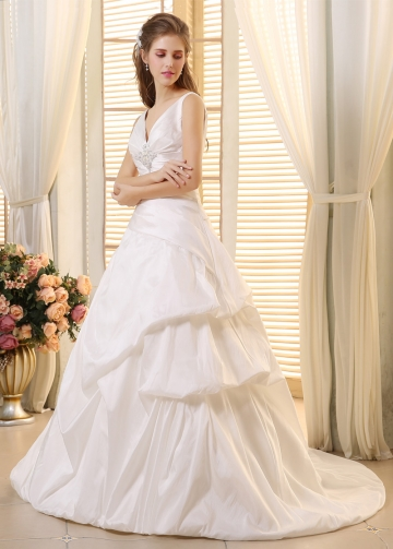Elegant Taffeta V-neck Neckline Pick-up A-line Wedding dresses