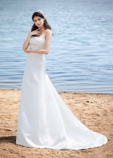 Elegant Satin Strapless Neckline A-line Wedding Dresses