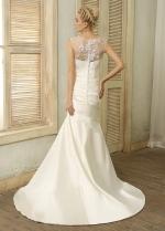 Chic Satin Jewel Neckline Mermaid Wedding Dresses With Beaded Embroidery