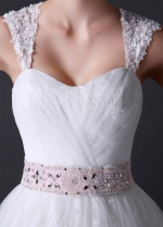 Charming Princess Tulle A-line Sweetheart Neckline Wedding Dress with Beaded Belt