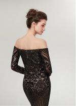 Newest Sequin Lace Off-the-shoulder Neckline Long Sleeves Sheath/Column Evening Dress