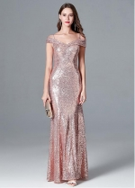 Shining Sequin Lace Off-the-shoulder Neckline Prom / Bridesmaid Dress
