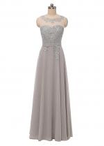 Elegant Chiffon Scoop Neckline A-line Evening Dress With Lace Appliques & Sash