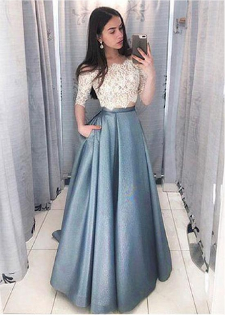 Stunning Lace & Satin Off-the-shoulder Neckline Floor-length A-line Prom Dresses With Pockets