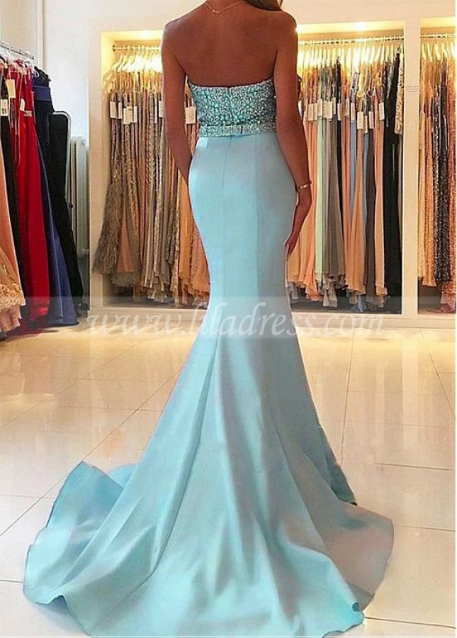 Eye-catching Satin Sweetheart Neckline Floor-length Mermaid Evening Dresses With Beadings & Belt