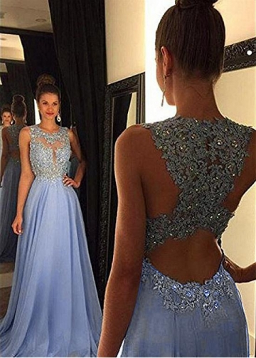 Fashionable Chiffon Jewel Neckline Cut-out A-line Prom Dress With Beaded Lace Appliques