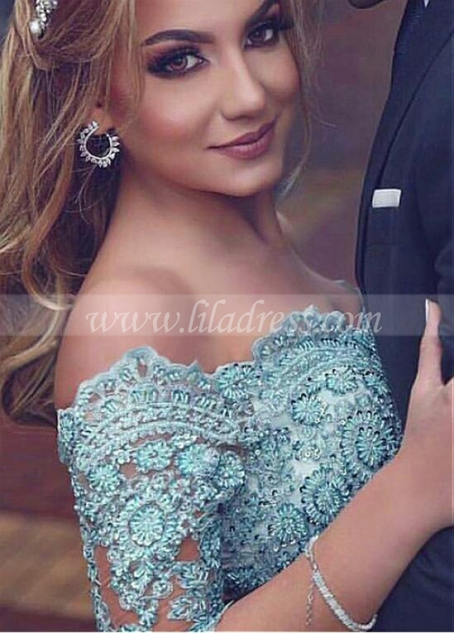 Graceful Chiffon Off-the-shoulder Neckline 3/4 Length Sleeves A-line Prom Dress With Slit