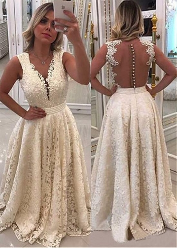 Marvelous Lace V-neck Neckline A-line Evening Dress With Lace Appliques & Beadings