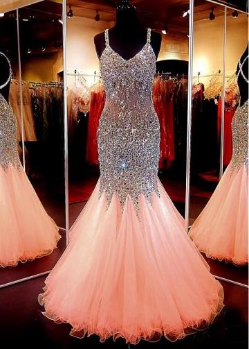 Chic Tulle Spaghetti Straps Neckline Floor-length Mermaid Prom Dress