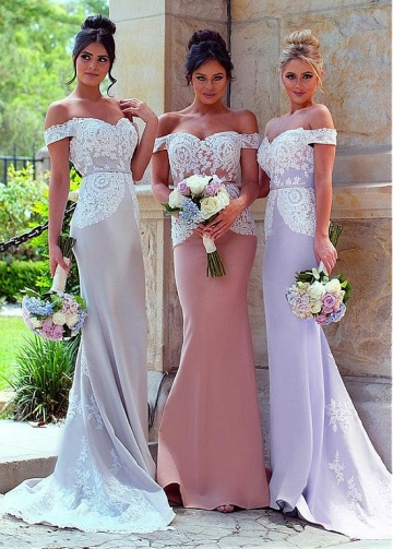 Attractive Off-the-shoulder Neckline Mermaid Bridesmaid Dresses With Lace Appliques & Belt