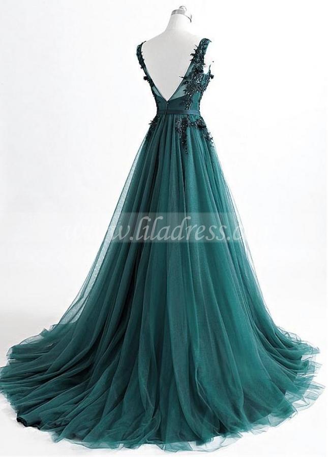 Fantastic Tulle V-neck Neckline Floor-length A-line Evening Dress With Beaded Lace Appiques & Belt