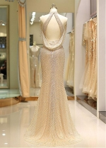 Eye-catching Tulle High Collar Floor-length Mermaid Evening Dress With Beadings