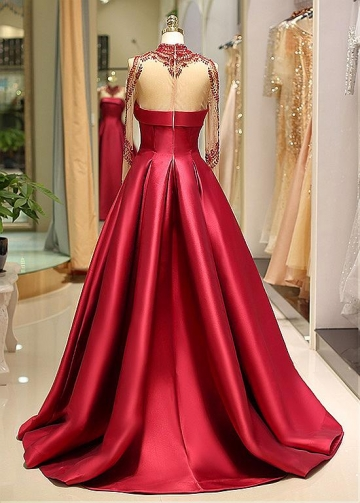 Brilliant Satin High Collar Floor-length A-line Evening Dress With Beadings