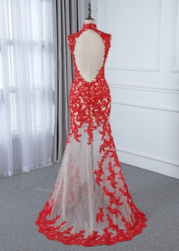 Sexy Tulle Illusion High Collar See-through Mermaid Evening Dress With Beaded Lace Appliques