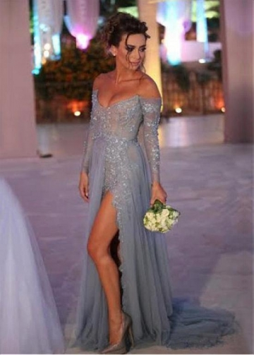 Charming Tulle & Lace Off-the-shoulder Neckline A-line Evening Dresses With Slit