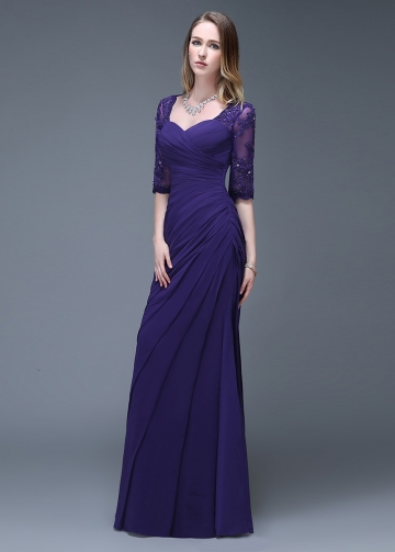 Elegant Chiffon Sweetheart Neckline Full-length Mermaid Evening Dresses