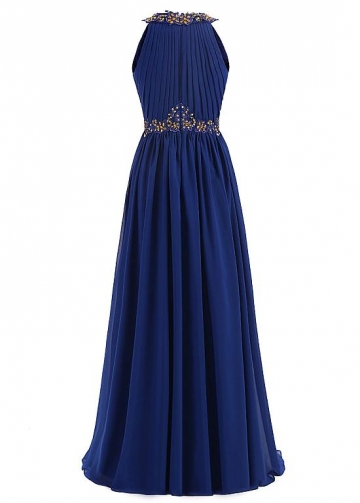 Elegant Chiffon Jewel Neckline Floor-length A-line Formal Dresses With Beaded Lace Appliques