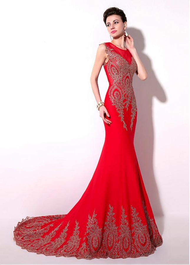 Eye-catching Jersey Jewel Neckline Mermaid Evening Dresses With Lace Appliques