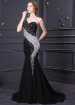 Brilliant Chiffon & Stretch Satin One Shoulder Neckline Mermaid Formal Dresses
