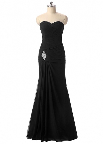 Graceful Chiffon Sweetheart Neckline Mermaid Formal Dresses With Beadings