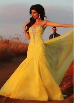 Fabulous Tulle & Satin Sweetheart Neckline Mermaid Evening Dresses With Beads