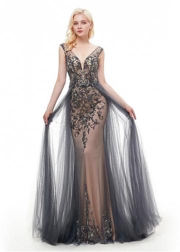 Charming Tulle & Satin V-neck Neckline Floor-length Mermaid Evening Dress With Beadings & Rhinestones