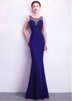 Delicate Satin Scoop Neckline Floor-length Mermaid Evening Dress With Beadings