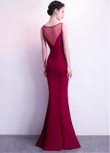 Delicate Satin Scoop Neckline Floor-length Mermaid Evening Dress With Beadings