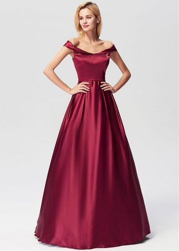 Chic Satin Off-the-shoulder Neckline A-line Prom/Evening Dresses