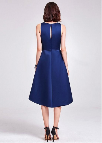 Modest Satin Scoop Neckline Hi-lo Length A-line Bridesmaid Dress