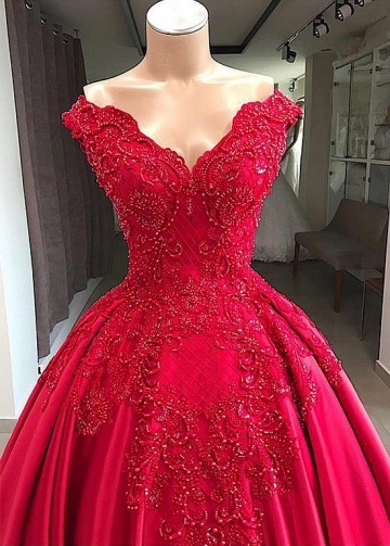 Lavish Satin Off-the-shoulder Neckline Floor-length Ball Gown Evening Dresses With Beaded Lace Appliques