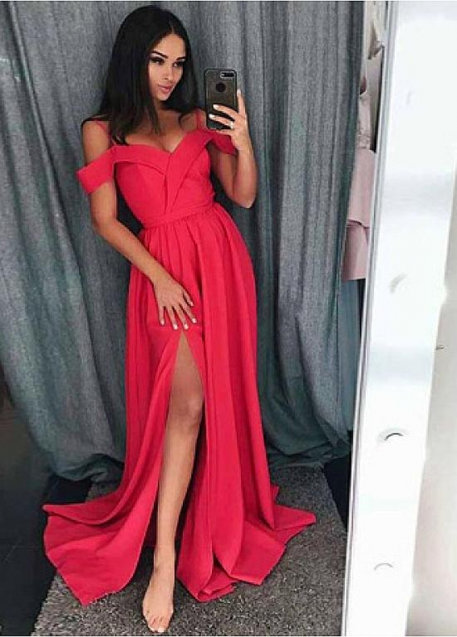 Marvelous Satin Spaghetti Straps Neckline Floor-length A-line Evening Dresses With Belt