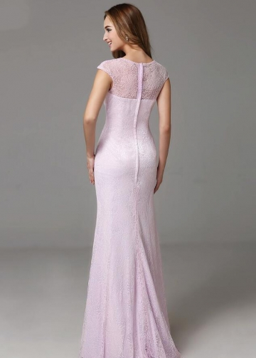 Crew Neck Cap Sleeves Lavender Lace Evening Dresses