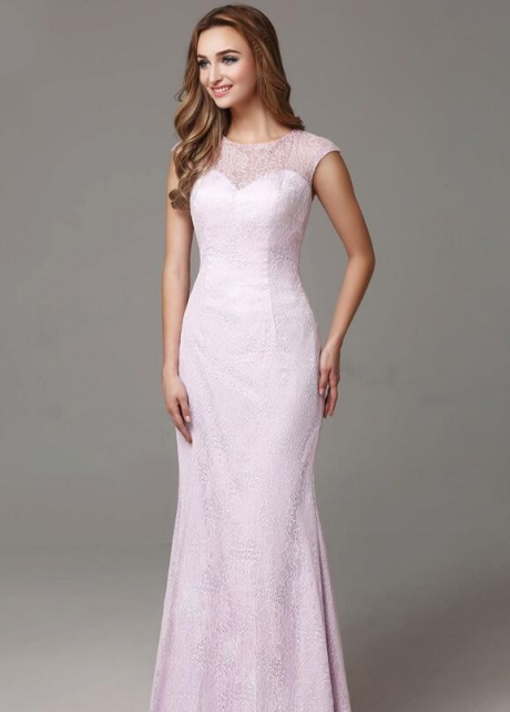 Crew Neck Cap Sleeves Lavender Lace Evening Dresses
