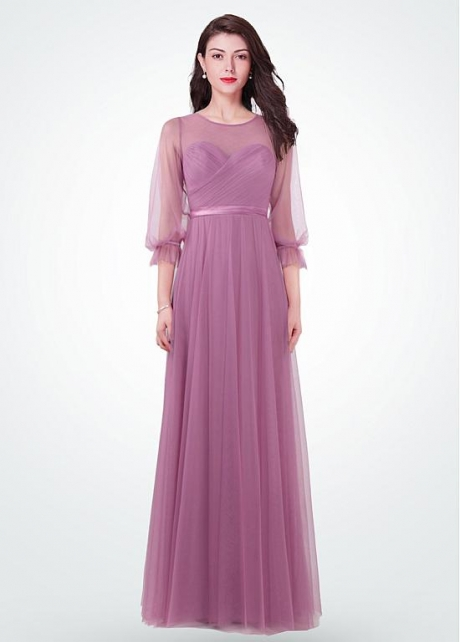 Glamorous Jewel Neckline A-line Evening Dresses