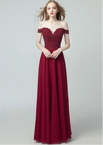 Stunning Chiffon Off-the-shoulder Neckline A-line Evening Dresses