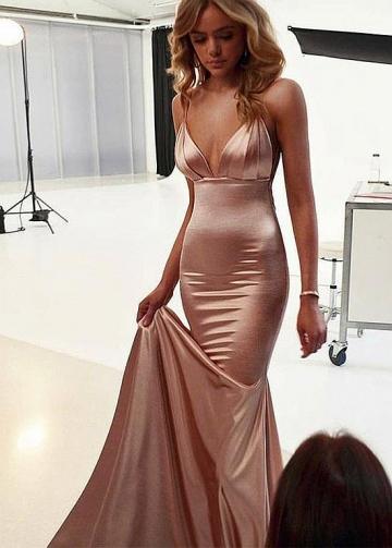 Delicate Stretch Charmeuse Satin Spaghetti Straps Neckline Floor-length Mermaid Evening Dresses
