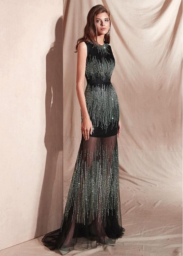 Brilliant Tulle Jewel Neckline Floor-length Sheath/Column Evening Dresses With Beadings